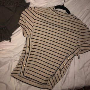 NWT Free People Striped Mock Neck Side Button Top